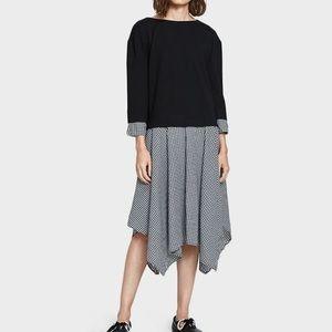 Gingham long sleeve slip on dress